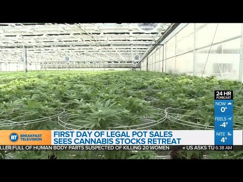 Cannabis stocks retreat on first day of legalization