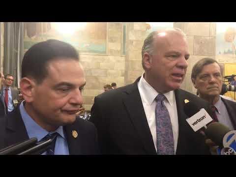 Sen. Nicholas Scutari and Senate President Stephen Sweeney talk about legalization of cannabis pa…