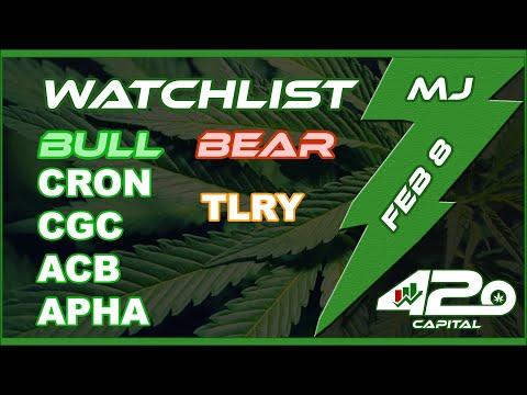 Feb 8 – Marijuana Stock Chart Analysis (CGC WEED TLRY ACB APHA CRON) — EARNINGS NEXT WEEK